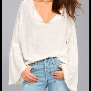 Free People Dahlia Thermal White Bell Sleeve Top